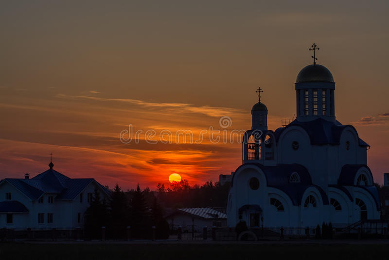 Vitryssland G Zhodino kyrka, arkivbilder