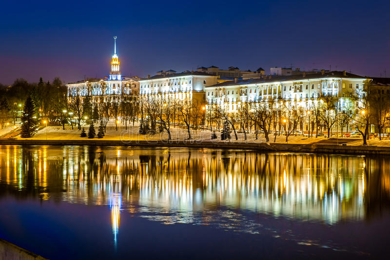 Vitryssland Minsk, flod Svisloch arkivfoton