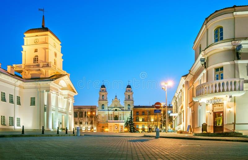 Vitryssland Minsk, stadshus, kyrka av vår dam