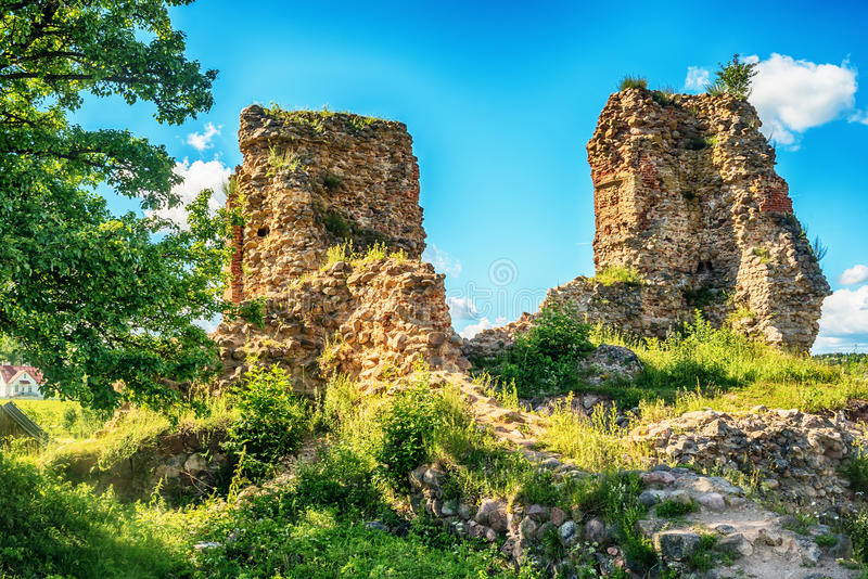 Vitryssland: rest av Kreva, Krewo, Krevo slott arkivbild