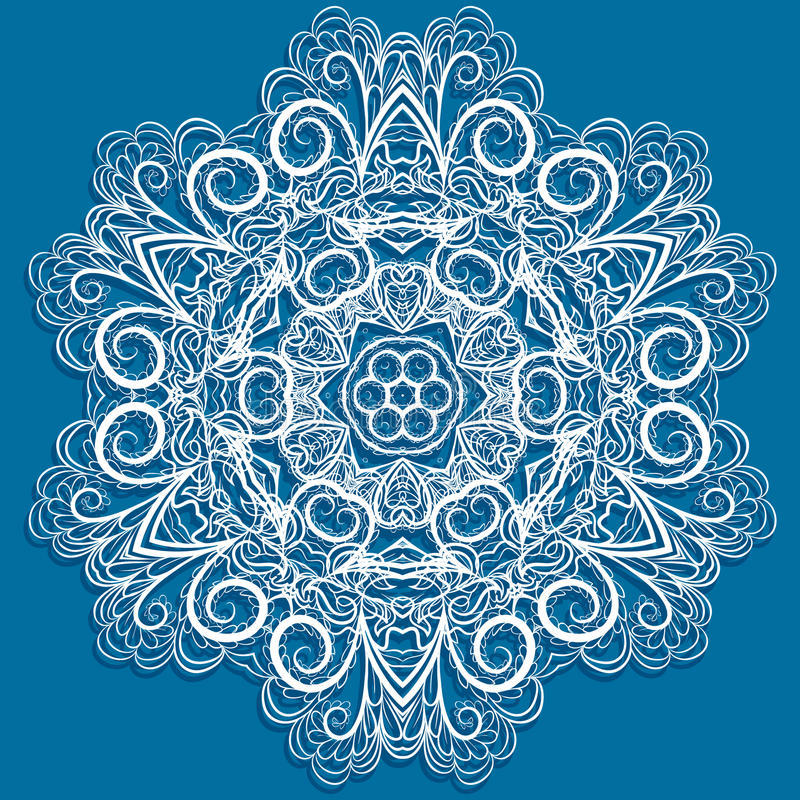 Vitsnowflake på blått vektor illustrationer