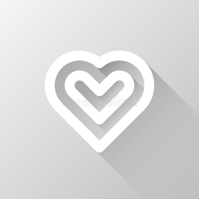 Vitt abstrakt hjärtatecken royaltyfri illustrationer