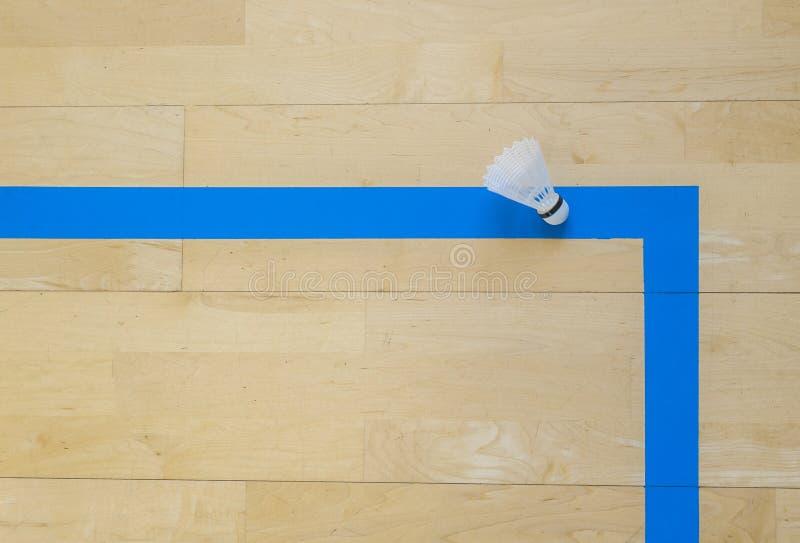 Vitt badmintonfjäderbollar och blålinjenhallgolv på badmintondomstolar Punktögonblick royaltyfri bild