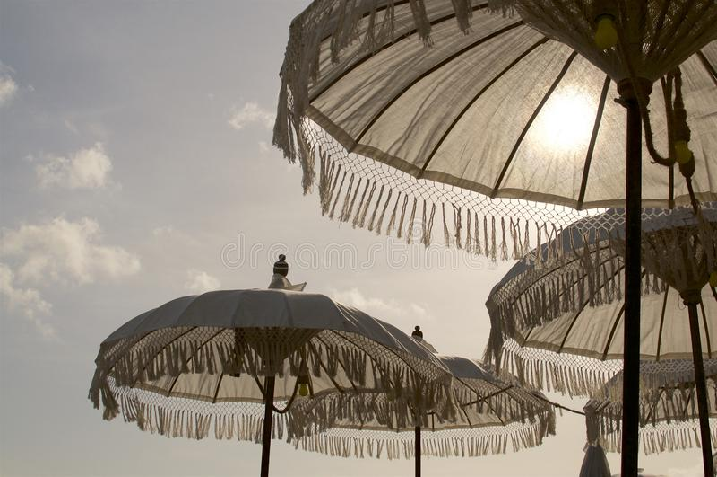 Vitt Balinesesolparaply arkivfoto