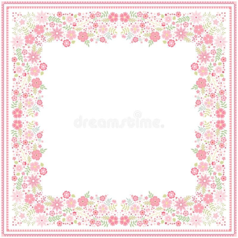 Vitt bandanatryck med den härliga blom- gränsen med ljusröda blommor och gröna sidor i vektor Fyrkantigt kort vektor illustrationer