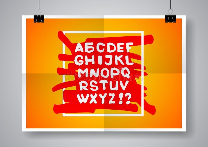 Vitt engelskt alfabet på en ljus bakgrund Två gånger en vikt affisch med klämmor också vektor för coreldrawillustration stock illustrationer