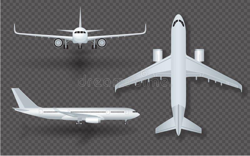 Vitt flygplan med skuggasymbolsuppsättningen på genomskinlig bakgrund i illustration för profil och framifrån vektor vektor illustrationer