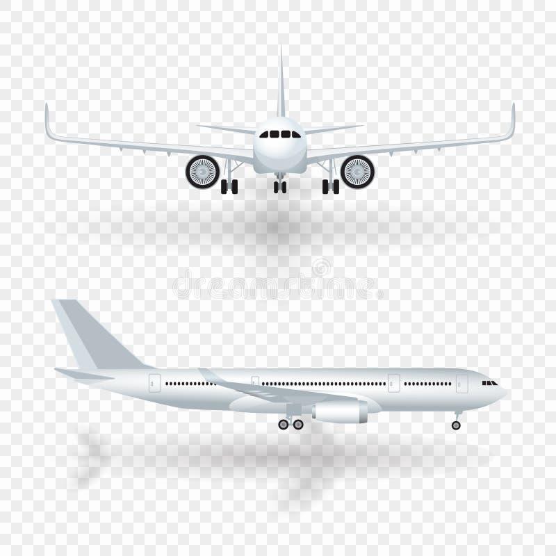 Vitt flygplan med skuggasymbolsuppsättningen på rutig bakgrund i illustration för profil och framifrån vektor stock illustrationer