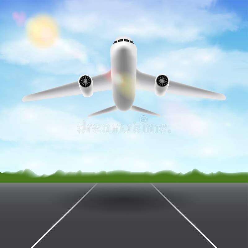 Vitt flygplanflyg i himmel över flygplatslandningsbana royaltyfri illustrationer