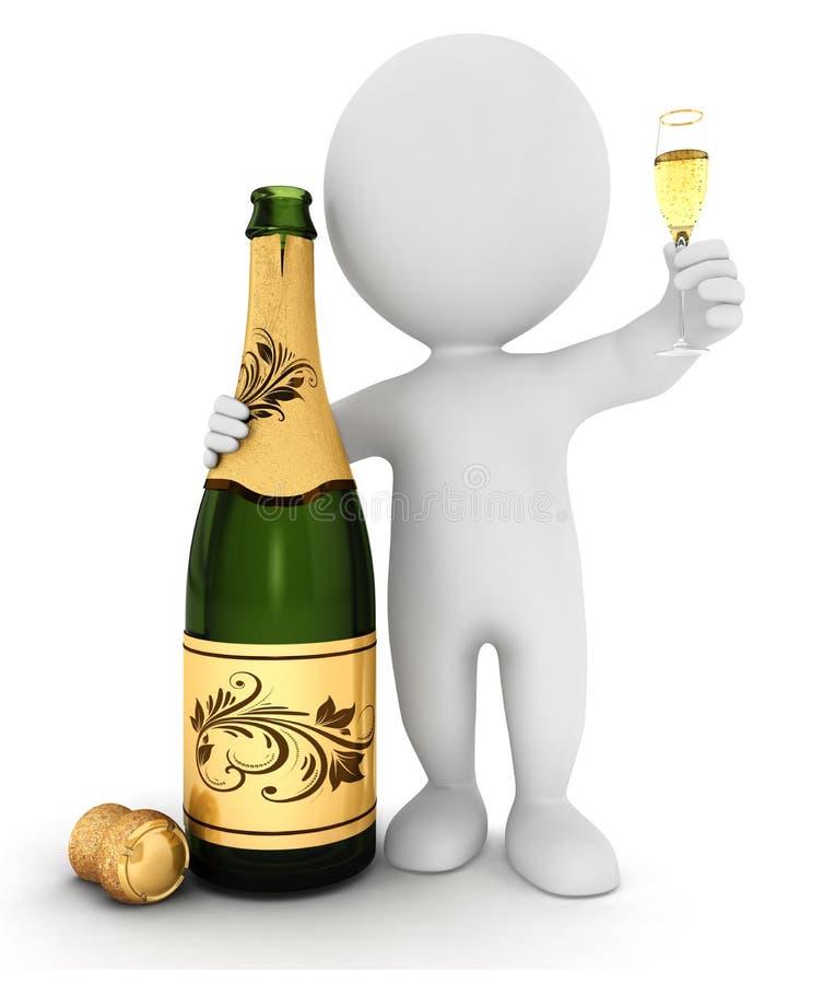 vitt folk 3d med champagne stock illustrationer