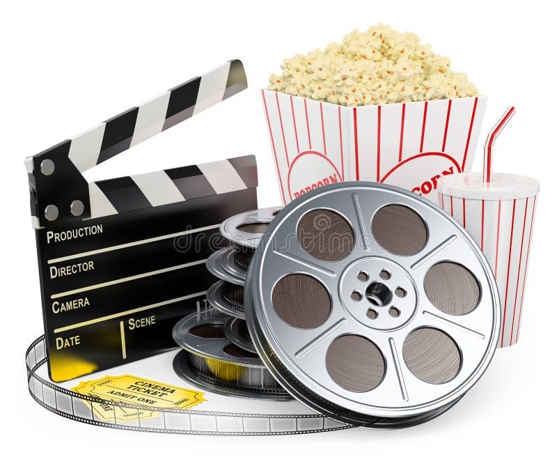 vitt folk 3D. Drink och popcorn för rulle för bioclapperfilm vektor illustrationer