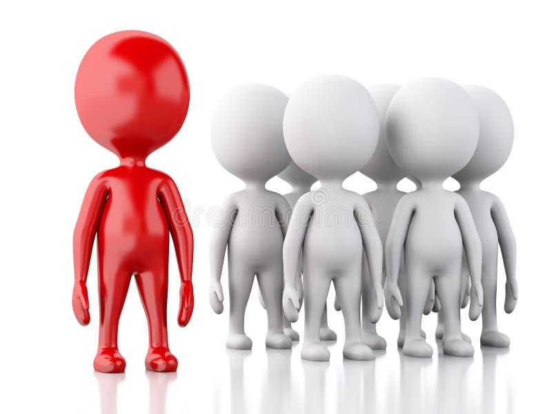 vitt folk 3d med den röda ledaren begrepp isolerad lagwhite stock illustrationer