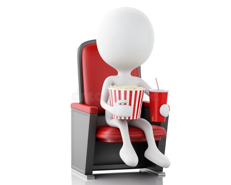 vitt folk 3d med popcorn och drinken royaltyfri illustrationer