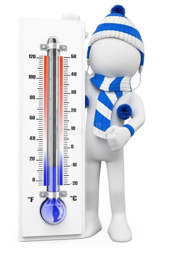 vitt folk 3D. Vinterförkylningdagar vektor illustrationer