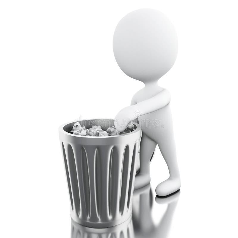 vitt folk som 3d kastar avfall royaltyfri illustrationer