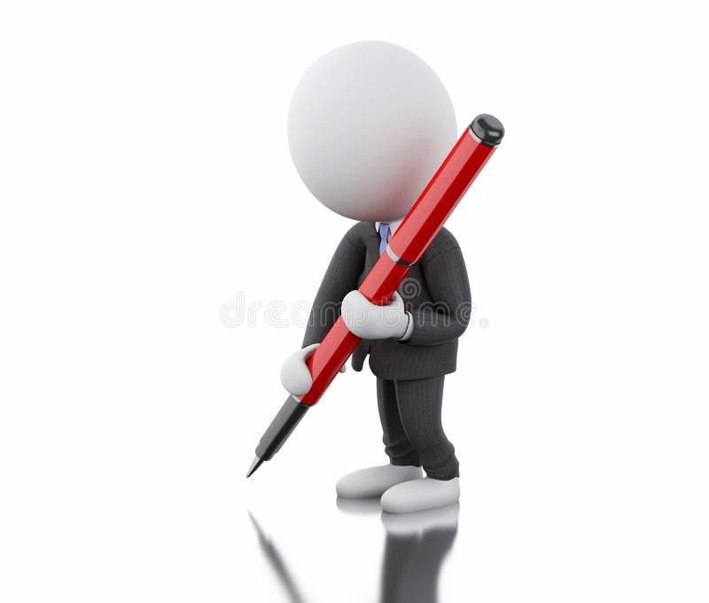 vitt folk som 3d skriver med en penna royaltyfri illustrationer