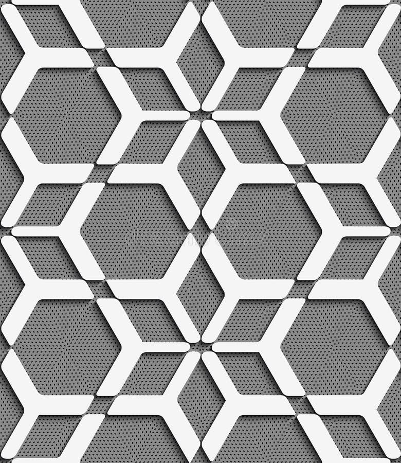 Vitt geometriskt netto på texturerad grå sömlös modell vektor illustrationer