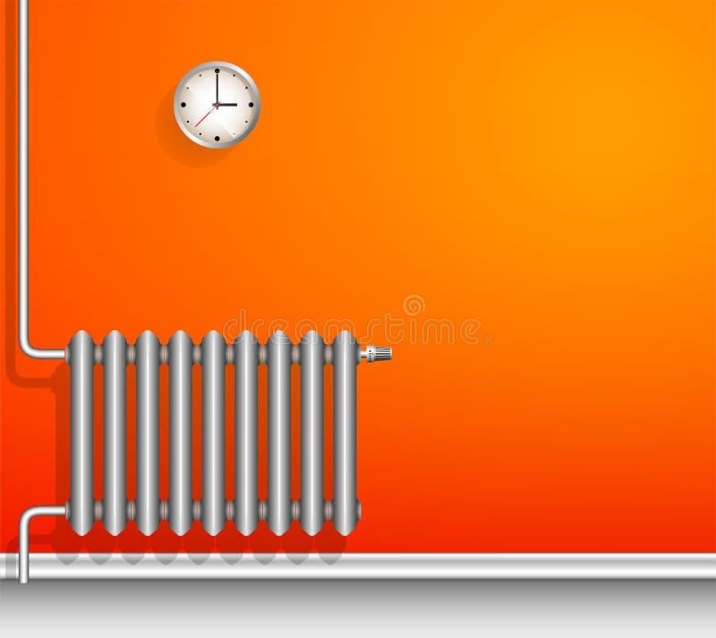 Vitt gjutjärnelement på en orange vägg En realistisk bild stock illustrationer