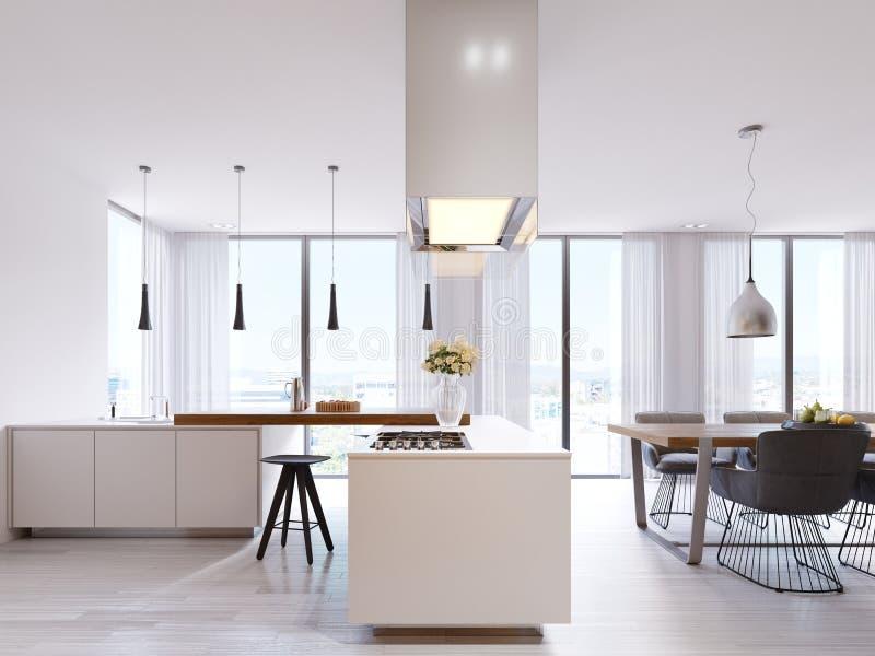 Vitt hörnkök i modern stil, med stångöverkanten och svarta stolar Inställda lampor och fyrkantig huv, panorama- fönster och royaltyfri illustrationer