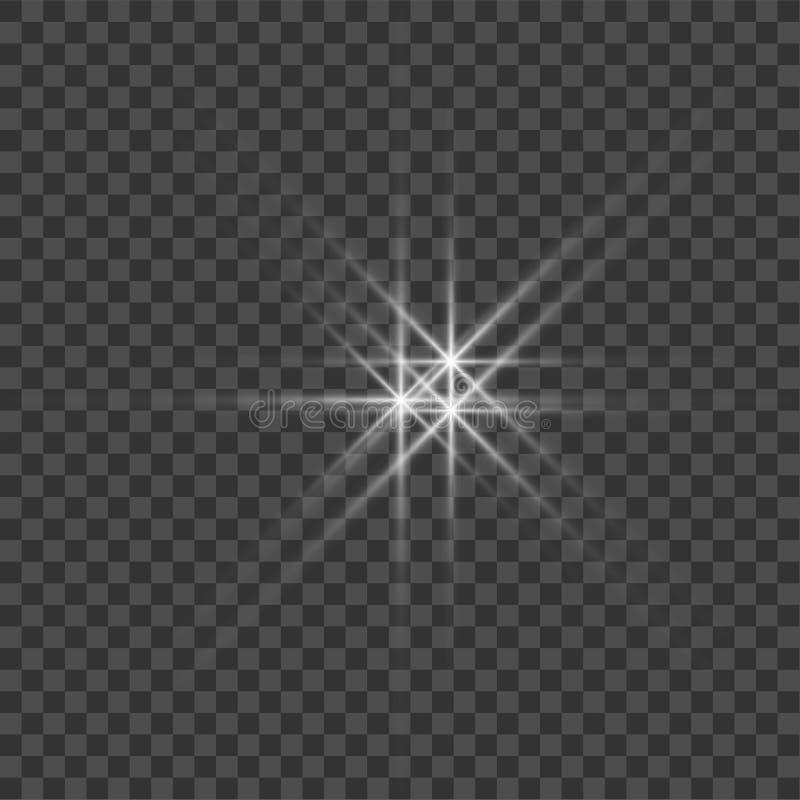 Vitt h?rligt ljus exploderar med en genomskinlig explosion Vektorn den ljusa illustrationen f?r perfekt effekt med mousserar brig vektor illustrationer