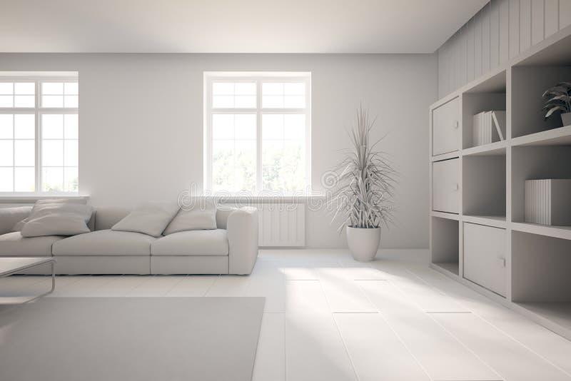 Vitt inre begrepp för vardagsrum vektor illustrationer