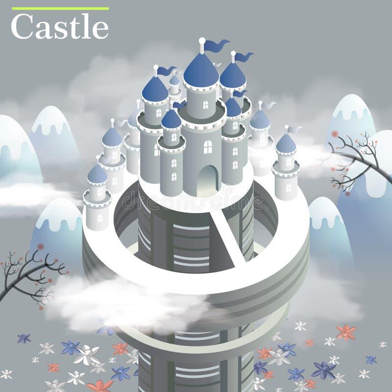 Vitt isometriskt infographic för slott 3d vektor illustrationer