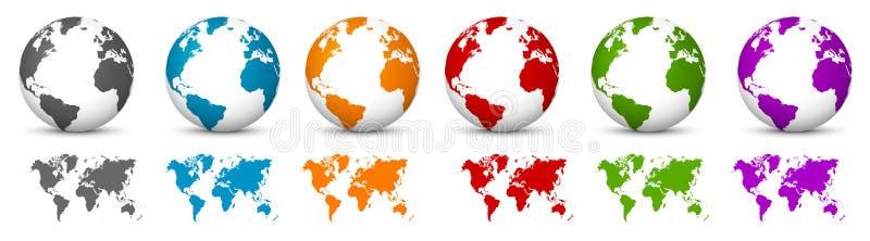 Vitt jordklot för vektor 3D med världskartan i samma färg stjärnor för planet för bakgrundsjord fulla vektor illustrationer