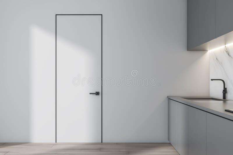 Vitt kök med den gråa countertops och dörren stock illustrationer