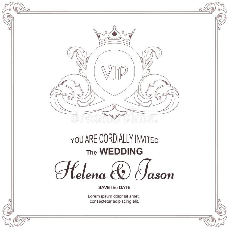 Vitt kort för elegant tappning för inbjudan till ett bröllop, prydnad i viktoriansk stil för design och printing stock illustrationer
