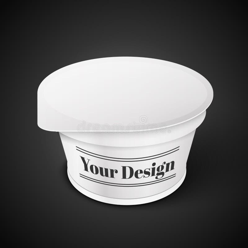 Vitt korta och kraftigt badar den plast- behållaren för mat royaltyfri illustrationer