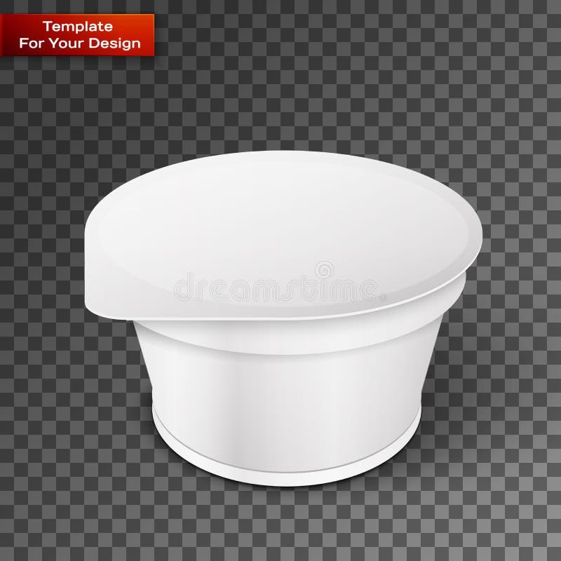 Vitt korta och kraftigt badar den plast- behållaren för mat för efterrätt stock illustrationer