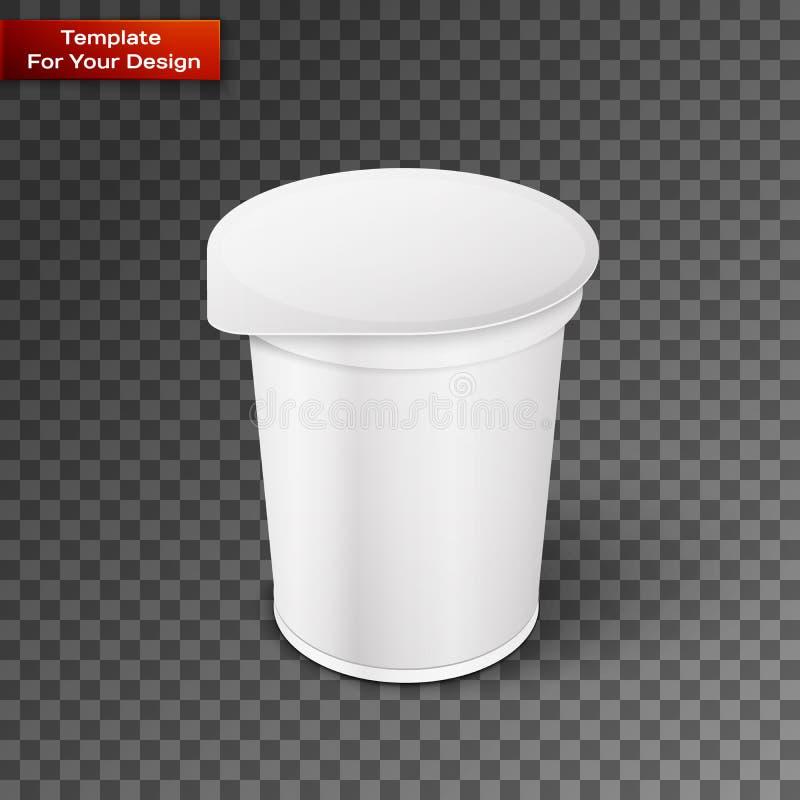 Vitt korta och kraftigt badar den plast- behållaren för mat för efterrätt vektor illustrationer