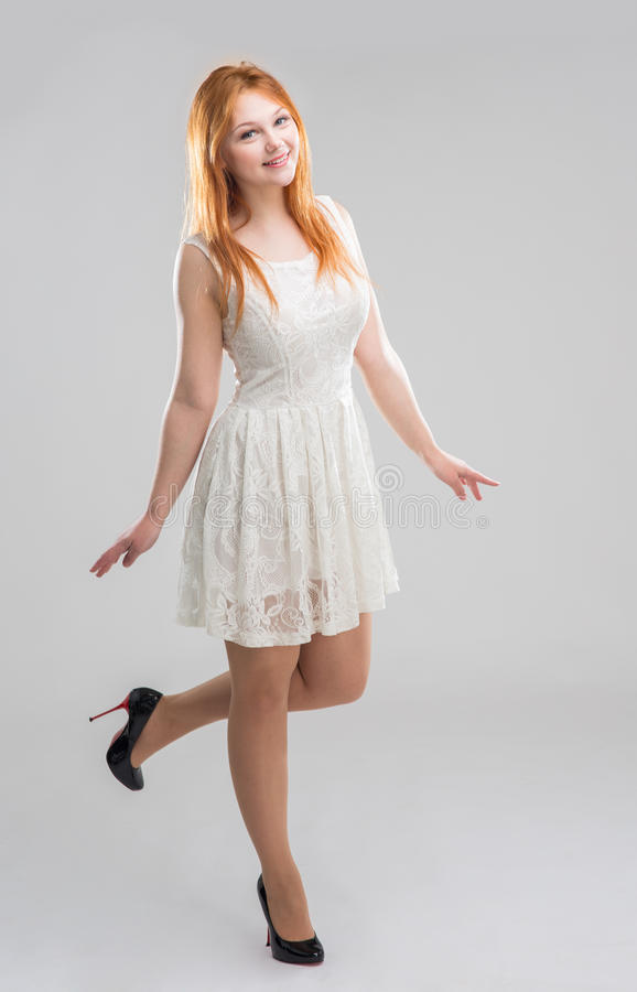 vitt kvinnabarn för klänning royaltyfri fotografi