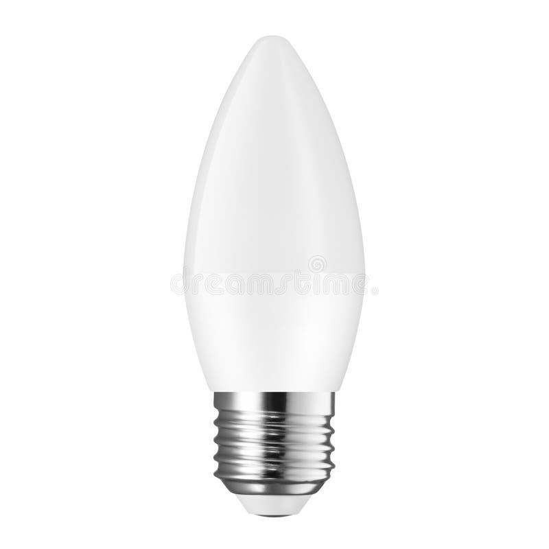 Vitt LETT ljus, stearinljus som kulan som isoleras på vit bakgrund royaltyfri fotografi