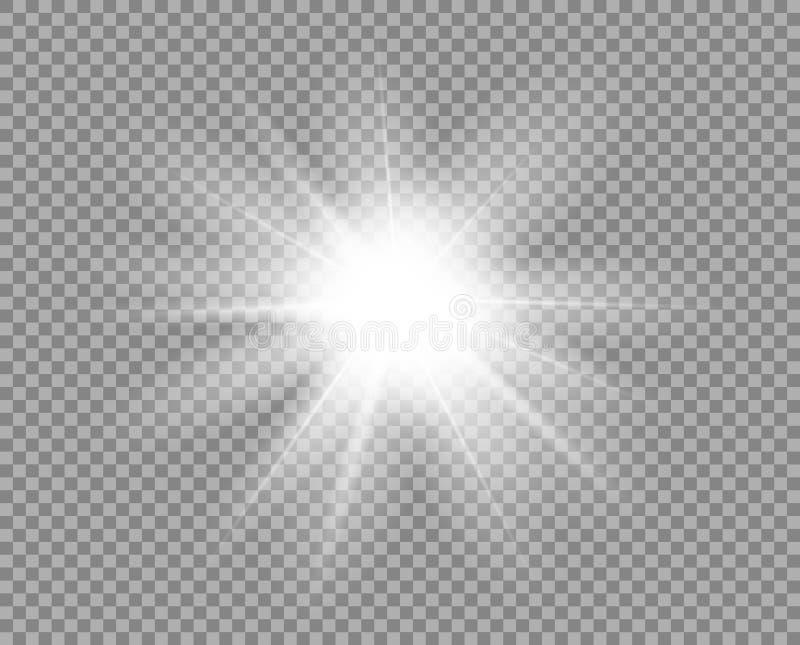 Vitt ljust ljus, ilsken blick Den dekorativa beståndsdelsamkopieringen blänker, explosionen, stjärnasken Vektordesign av det nya  royaltyfri illustrationer