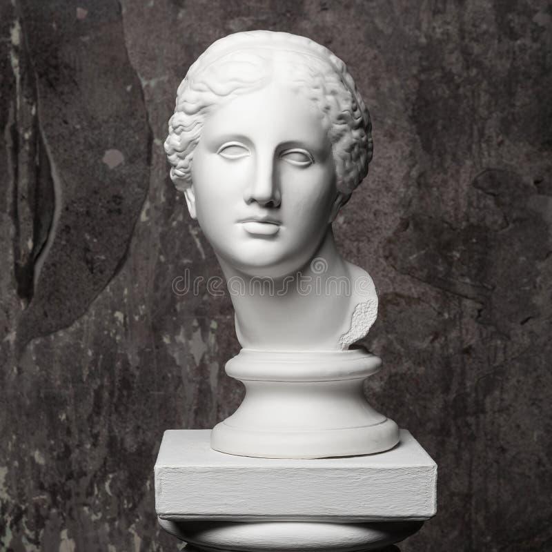 Vitt marmorhuvud av den unga kvinnan arkivfoton