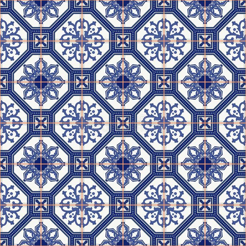 Vitt marockanskt för sömlös modell, portugistegelplattor, Azulejo, prydnader stock illustrationer