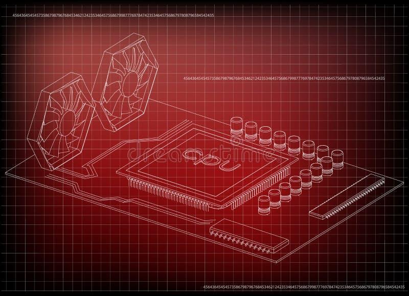 Vitt moderkort på rött vektor illustrationer