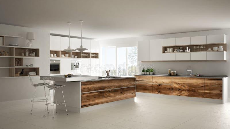 Vitt modernt minimalistic kök, med klassiska wood monteringar, panorama- fönster, lyxig inredesign arkivfoto