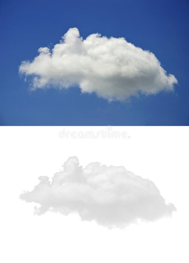 Vitt moln för enkel natur på bakgrund för blå himmel och isolerad version på vit bakgrund arkivbild