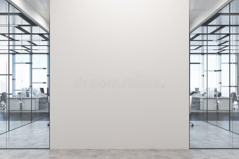 Vitt och glass kontor, vit vägg royaltyfri illustrationer