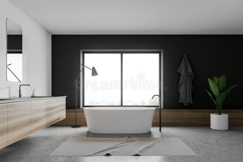 Vitt och grått badrum med fönstret royaltyfri illustrationer