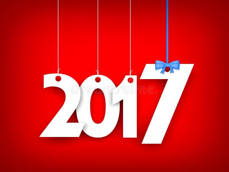 Vitt ord 2017 på röd bakgrund nytt år för illustration stock illustrationer