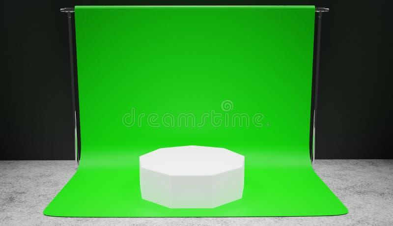 Vitt podiumanseende på grön skärmbakgrund i en studio, yrkesmässig bakgrund stock illustrationer