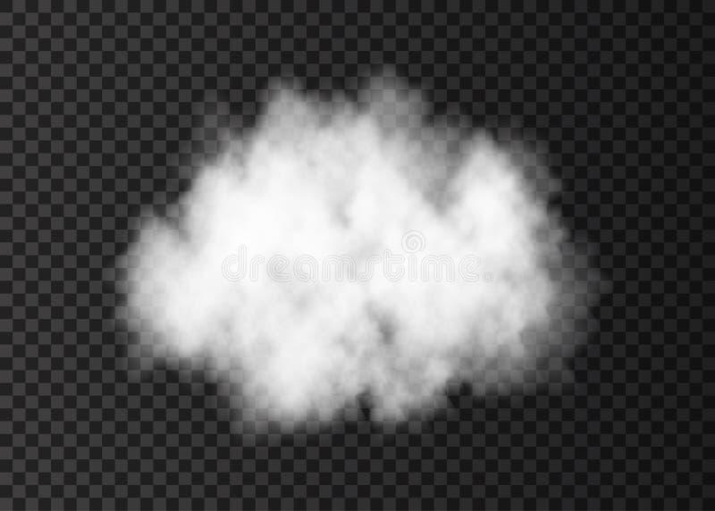 Vitt rökmoln på genomskinlig bakgrund vektor illustrationer