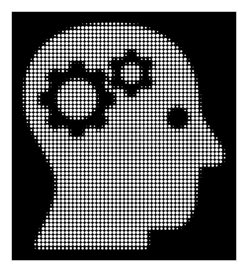 Vitt rastrerat intellekt utrustar symbolen stock illustrationer