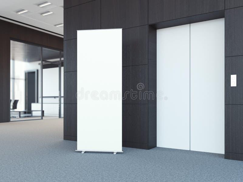 Vitt rulla upp bunner i modern kontorslobby framförande 3d vektor illustrationer