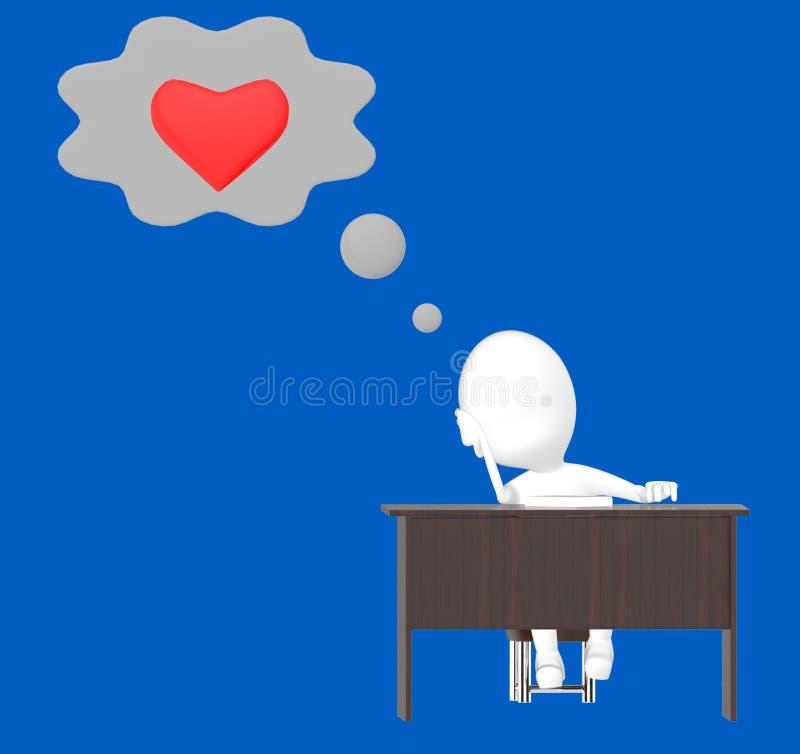 vitt sammanträde för tecken 3d i en stol, tabell som tänker om förälskelse stock illustrationer