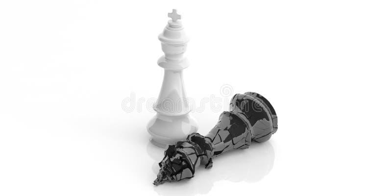 Vitt schackkonunganseende, bruten svart konung ner, isolerat på vit baxkground illustration 3d stock illustrationer