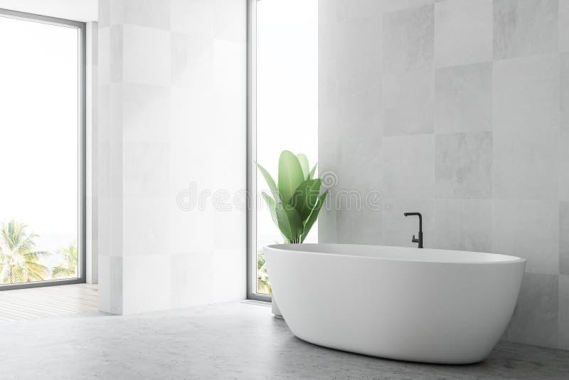 Vitt skandinaviskt badrumhörn, en bada vektor illustrationer